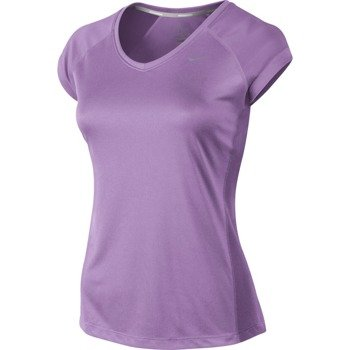 koszulka do biegania damska NIKE MILER SHORTSLEEVE V-NECK TOP / 519831-510