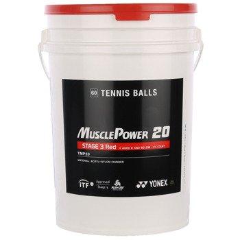piłki tenisowe YONEX MUSCLE POWER 20 STAGE 3 RED X60 SZT. WIADRO / TPY-004